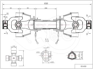 PTO drive shaft complete 20HP (15kW), 650mm, tractor (2)