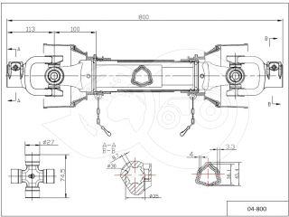 PTO drive shaft complete 34HP (25kW), 800mm, tractor (3)